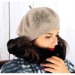 Béret bonnet femme hiver cachemire rebrodé taupe BA00 Béret femme