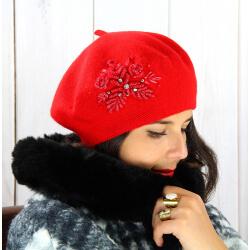 Béret bonnet femme hiver cachemire rebrodé rouge BA00 Béret femme
