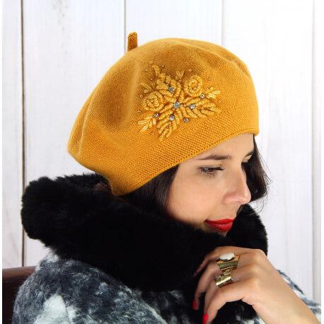 Béret bonnet femme hiver cachemire rebrodé ocre BA00 Béret femme