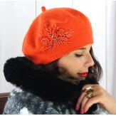 Béret bonnet femme hiver cachemire rebrodé orange BA00 Béret femme