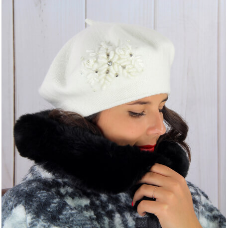 Béret bonnet femme hiver cachemire rebrodé écru BA00 Béret femme