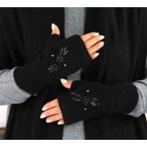 Gants mitaines femme cachemire broderies noir GT00 Gants femme