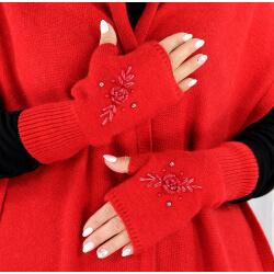 Gants mitaines femme cachemire broderies rouge GT00 Gants femme