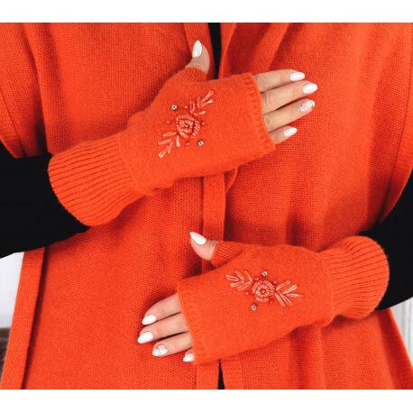 Gants mitaines femme cachemire broderies orange GT00 Gants femme