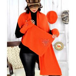 Écharpe étole femme cachemire broderies orange EC00 Écharpe cachemire femme