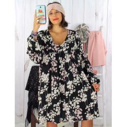 Robe tunique grande taille bohème noir MILTON Robe tunique femme grande taille