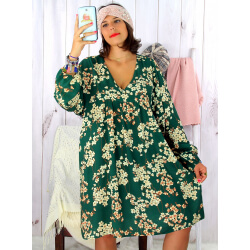 Robe tunique grande taille bohème vert sapin MILTON Robe tunique femme grande taille