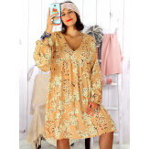 Robe tunique grande taille bohème caramel MILTON Robe tunique femme grande taille