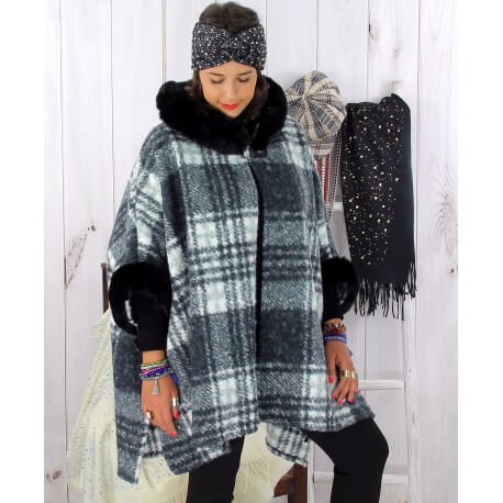 Cape femme hiver fourrure capuche grande taille noire LORETO Cape femme grande taille