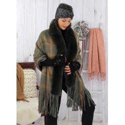 Châle poncho femme fourrure hiver grande taille kaki SHELLA Poncho femme grande taille