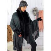 Châle poncho femme fourrure hiver grande taille gris SHELLA Poncho femme grande taille