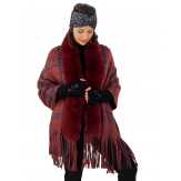 Châle poncho femme fourrure hiver grande taille bordeaux SHELLA Poncho femme grande taille