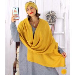 Écharpe étole femme hiver pompons jaune EC03 Écharpe femme