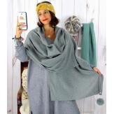 Écharpe étole femme hiver pompons gris EC03 Écharpe femme