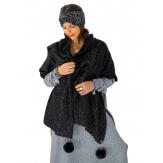 Écharpe étole femme hiver pompons noir EC03 Écharpe femme
