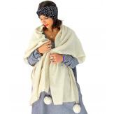 Écharpe étole femme hiver pompons beige EC03 Écharpe femme
