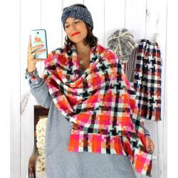 Écharpe étole femme hiver tweed carreaux violet EC44 Écharpe femme