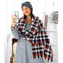 Écharpe étole femme hiver tweed carreaux marine EC44 Écharpe femme