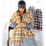 Écharpe étole femme hiver tweed carreaux kaki rose EC44 Écharpe femme