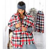 Écharpe étole femme hiver tweed carreaux rouge EC44 Écharpe femme