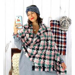 Écharpe étole femme hiver tweed carreaux vert EC44 Écharpe femme
