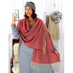 Écharpe étole femme hiver tweed franges bordeaux EC43 Écharpe femme