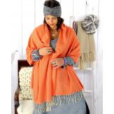 Écharpe étole femme hiver tweed franges orange EC43 Écharpe femme