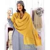 Écharpe étole femme hiver tweed franges jaune EC43 Écharpe femme