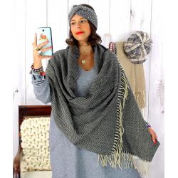 Écharpe étole femme hiver tweed franges noir EC43 Écharpe femme