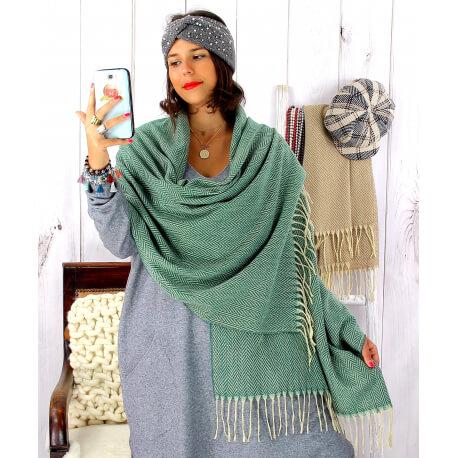 Écharpe étole femme hiver tweed franges vert EC43 Écharpe femme
