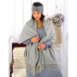 Écharpe étole femme hiver tweed franges gris EC43 Écharpe femme