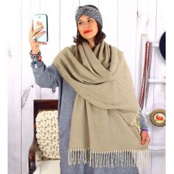 Écharpe étole femme hiver tweed franges taupe EC43 Écharpe femme