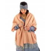 Écharpe étole femme hiver tweed franges rose saumon EC43 Écharpe femme