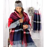 Écharpe étole femme hiver tartan franges rouge EC05 Écharpe femme
