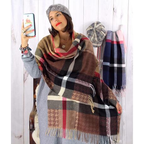 Écharpe étole femme hiver tartan franges camel EC05 Écharpe femme