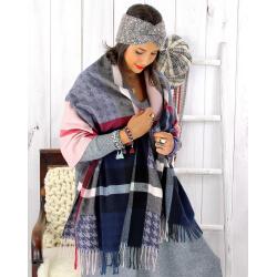 Écharpe étole femme hiver tartan franges rose EC05 Écharpe femme