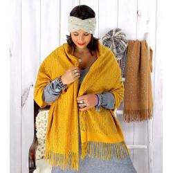 Écharpe étole femme hiver franges or jaune EC02 Écharpe femme
