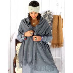 Écharpe étole femme hiver franges or gris EC02 Écharpe femme