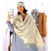 Écharpe étole femme hiver franges or beige EC02 Écharpe femme