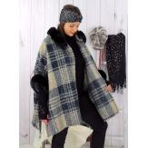 Cape femme hiver fourrure capuche grande taille taupe LORETO Cape femme grande taille