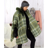 Cape femme hiver fourrure capuche grande taille kaki LORETO Cape femme grande taille