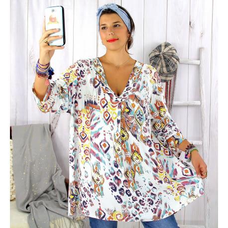 Tunique longue grande taille ethnique tencel blanche SULANA Tunique femme grande taille