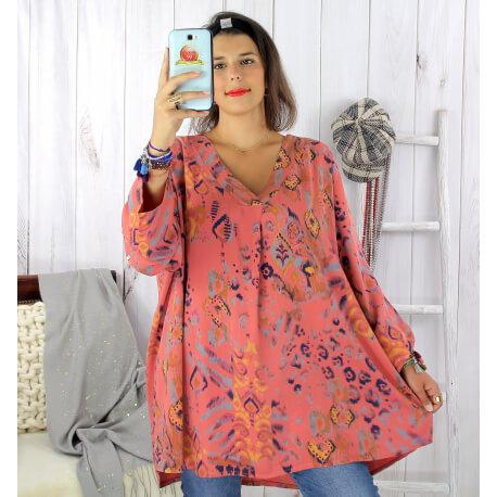 Tunique longue grande taille ethnique tencel vieux rose SULANA Tunique femme grande taille