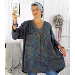 Tunique longue grande taille ethnique tencel gris SULANA Tunique femme grande taille