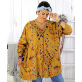 Tunique longue grande taille ethnique tencel moutarde SULANA Tunique femme grande taille