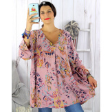 Tunique longue grande taille ethnique tencel rose SULANA Tunique femme grande taille