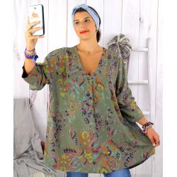 Tunique longue grande taille ethnique tencel kaki SULANA Tunique femme grande taille