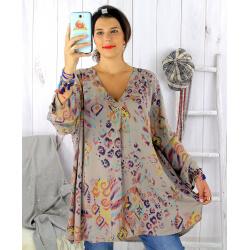 Tunique longue grande taille ethnique tencel taupe SULANA Tunique femme grande taille