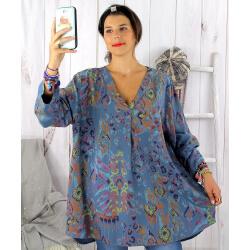 Tunique longue grande taille ethnique tencel bleu jean SULANA Tunique femme grande taille