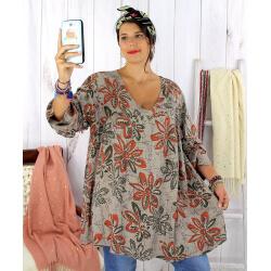 Tunique longue grande taille ethnique tencel taupe JASPER Tunique femme grande taille